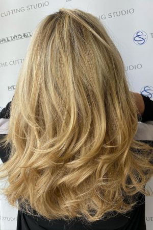 buttery blonde hair colour, Hazelmere